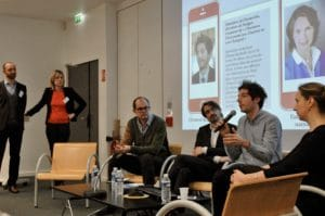 Mathieu Mazérat et Florence Saubatte animent la table ronde avec Esther Mac Namara, Clément Bertholet, Cédric Spérandio et Christophe Bouchet